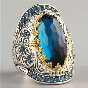 Gorgeous 925 Silver Round Cut  blue Sapphire Ring